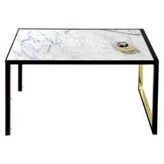 Ouija Board Table in Steel, Etched Carrara Marble and Brass Accents & Planchette