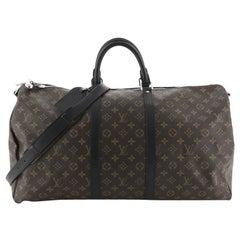 ouis Vuitton  Keepall Bandouliere Bag Macassar Monogram Canvas 55
