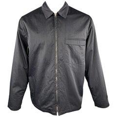 OUR LEGACY Size 38 Navy Textured Nylon Zip Jacket