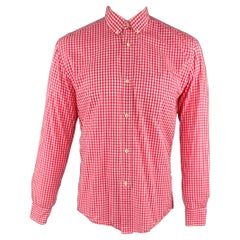 OUR LEGACY Size 40 Pink Gingham Cotton Button Down Long Sleeve Shirt