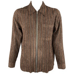 OUR LEGACY Size 42 Brown Striped Corduroy Zip Jacket