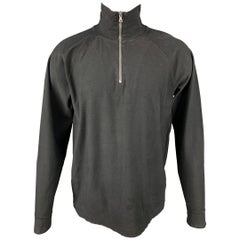 OUR LEGACY Size M Black Cotton Half Zip Pullover
