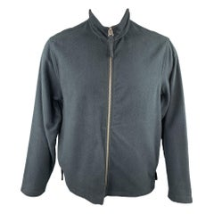 OUR LEGACY Size S Navy Textured Cotton High Collar Zip Jacket