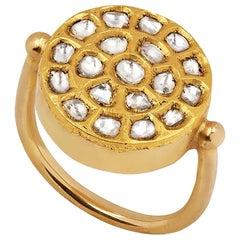 Ouroboros 18 and 24 Karat Gold, Diamond Kundan Set Sun Ring