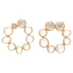 Ouroboros Cabochon Rainbow Moonstone 18 Karat Gold Earrings
