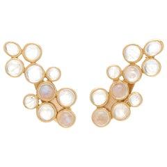 Ouroboros Cabochon Rainbow Moonstone 18 Karat Gold Earrings