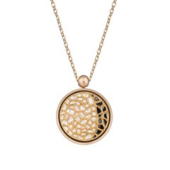 Ouroboros Diamond and Agate Pendant Set in Gold with a Handmade Gold Chain