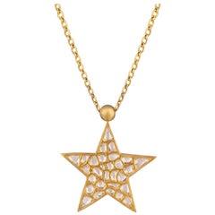 Ouroboros Diamond and Lapis Lazuli Star Pendant Necklace Set in Gold