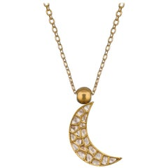 OUROBOROS Diamond and Lapis Lazuli Crescent Moon Pendant 18 Karat Gold Necklace