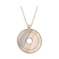 Ouroboros Gold and Veined Agate Snake Pendant Necklace