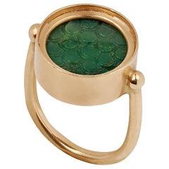 Ouroboros Green Jasper Hand Carved Snakeskin Ring Set in 18 Karat Gold