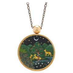 Ouroboros Hand Painted Indian Miniature Scenes and 18 Karat Gold Pendant