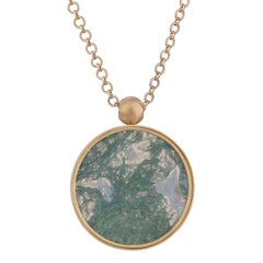 Ouroboros Moss Agate and Gold Pendant Necklace