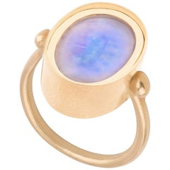 Ouroboros Oval Cabochon Rainbow Moonstone Ring