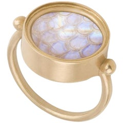 Ouroboros Rainbow Moonstone Snake Skin Carved Moonstone Ring