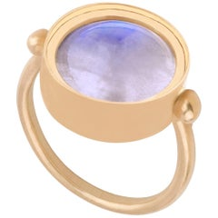 Ouroboros Round Cabochon Rainbow Moonstone Ring