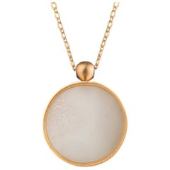Ouroboros White Agate 18 Karat Gold Pendant and Chain Necklace
