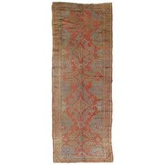 Oushak Carpet, Oriental Rug, Handmade Rug Coral, Light Blue, Saffron and Green
