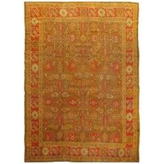 Oushak Carpet, Oriental Rug, Handmade Rug Gold/Green, Saffron, Ivory and Coral