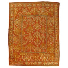 Oushak Carpet, Oriental Rug, Handmade Rug Saffron and Coral