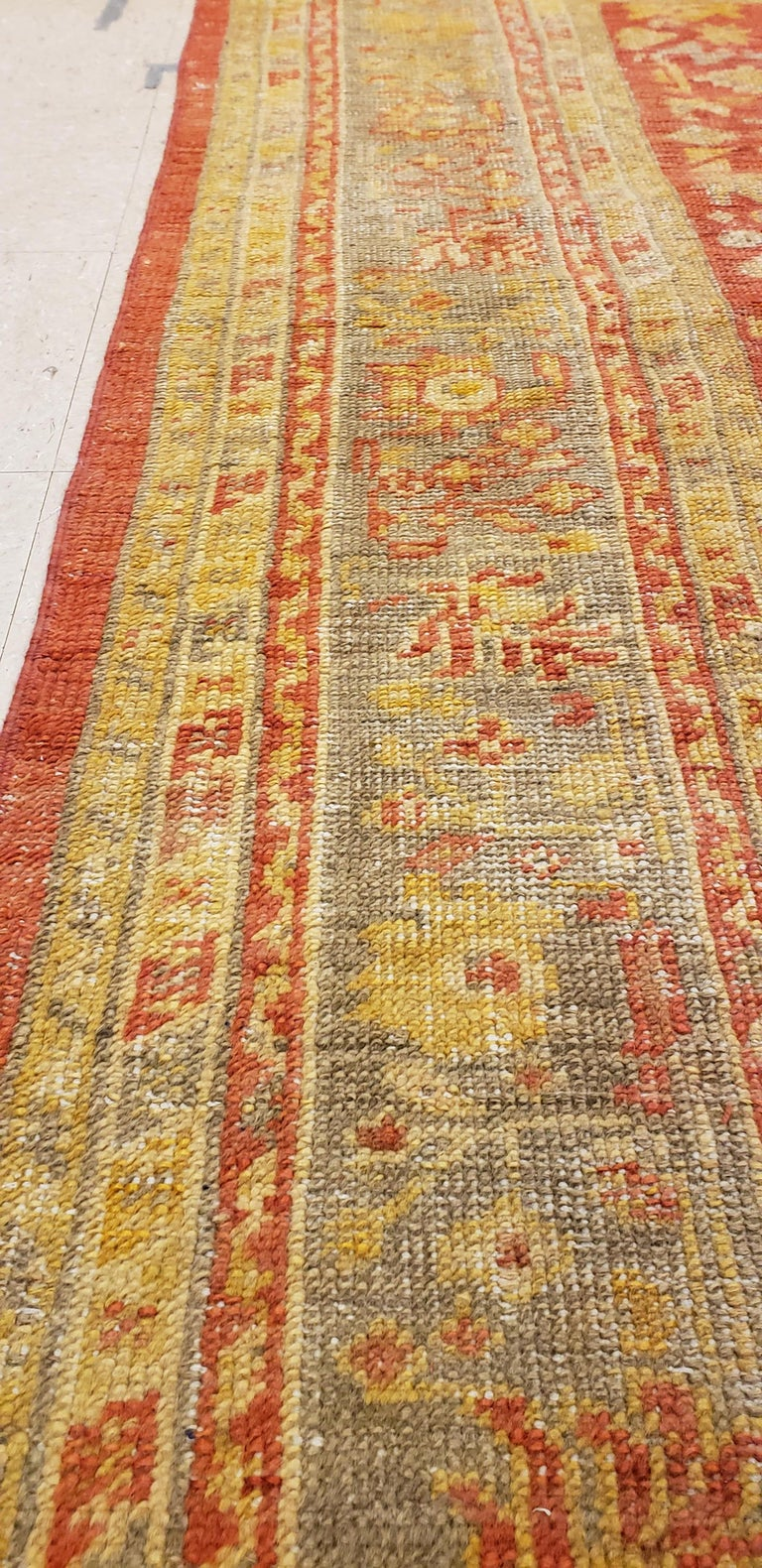 Oushak Carpet, Oriental Rug, Handmade Rug Saffron, Ivory, Light Blue and Coral In Good Condition For Sale In New York, NY