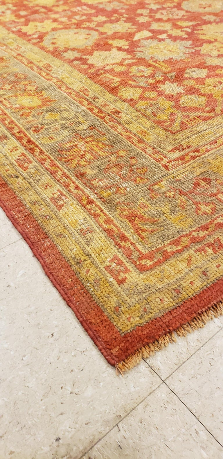 19th Century Oushak Carpet, Oriental Rug, Handmade Rug Saffron, Ivory, Light Blue and Coral For Sale