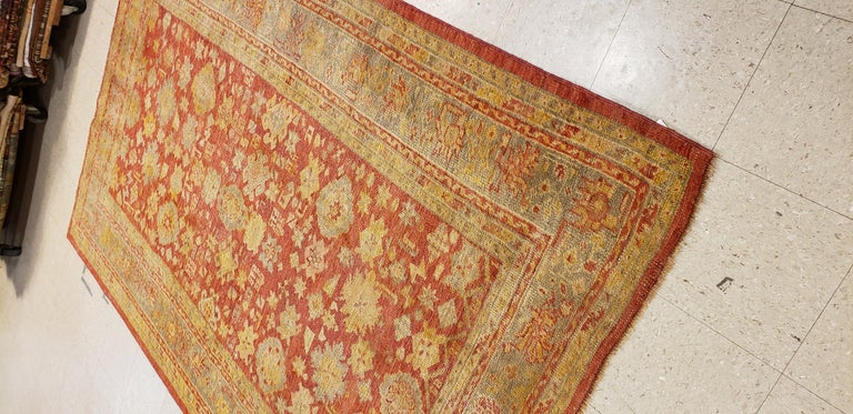 Oushak Carpet, Oriental Rug, Handmade Rug Saffron, Ivory, Light Blue and Coral For Sale 1