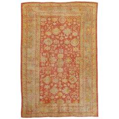 Oushak Carpet, Oriental Rug, Handmade Rug Saffron, Ivory, Light Blue and Coral