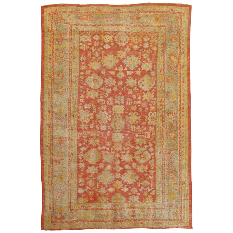 Oushak Carpet, Oriental Rug, Handmade Rug Saffron, Ivory, Light Blue and Coral For Sale