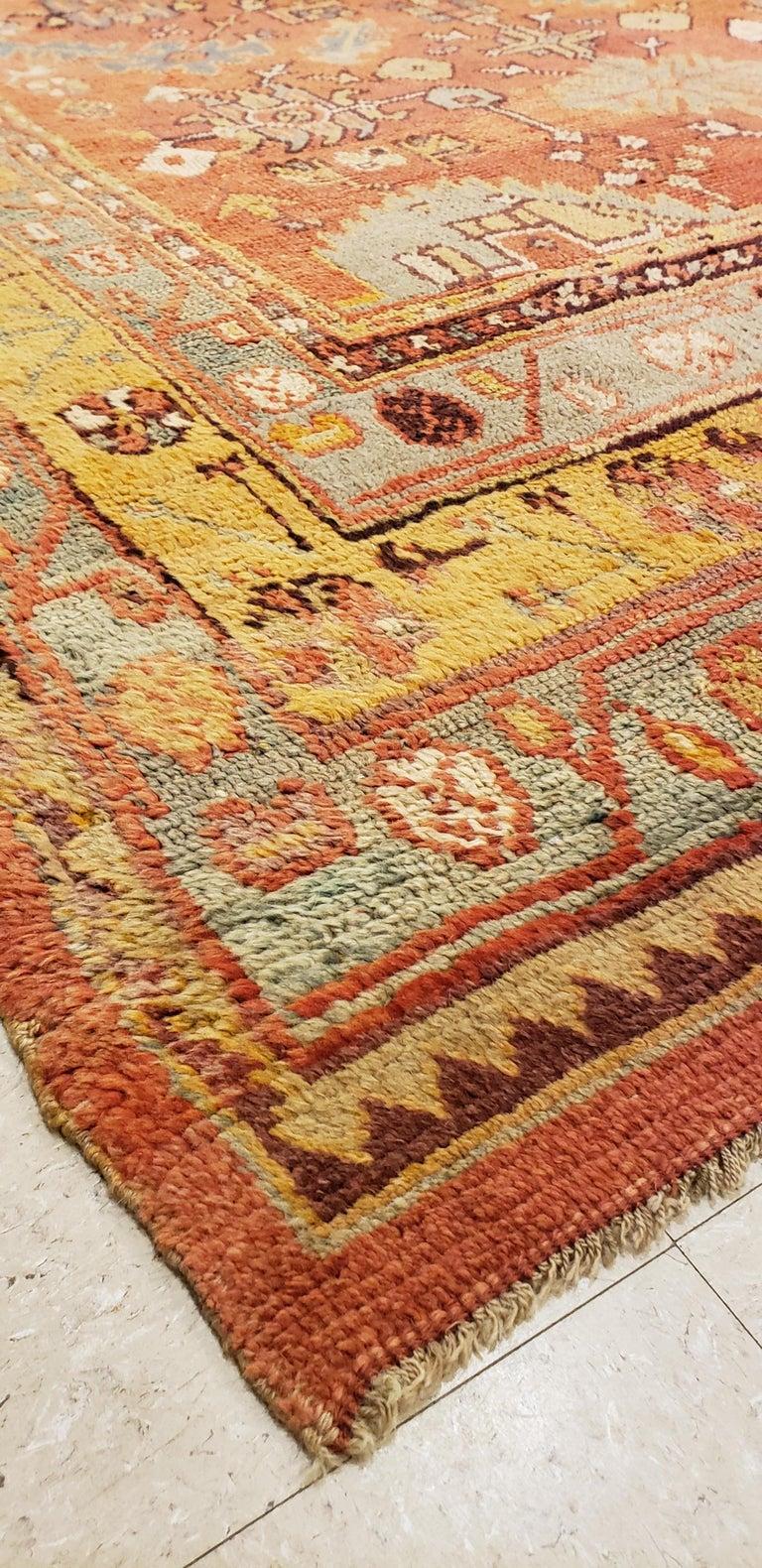Oushak Carpet, Oriental Rug, Handmade Rug Saffron, Light Blue and Coral For Sale 3