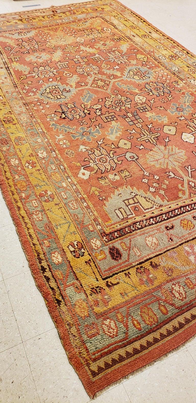 Oushak Carpet, Oriental Rug, Handmade Rug Saffron, Light Blue and Coral For Sale 4