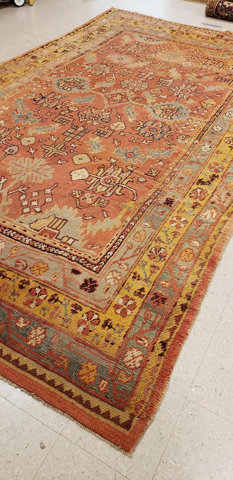 Oushak Carpet, Oriental Rug, Handmade Rug Saffron, Light Blue and Coral For Sale 5