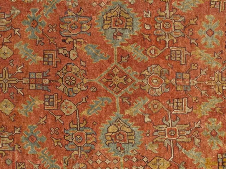 Turkish Oushak Carpet, Oriental Rug, Handmade Rug Saffron, Light Blue and Coral For Sale
