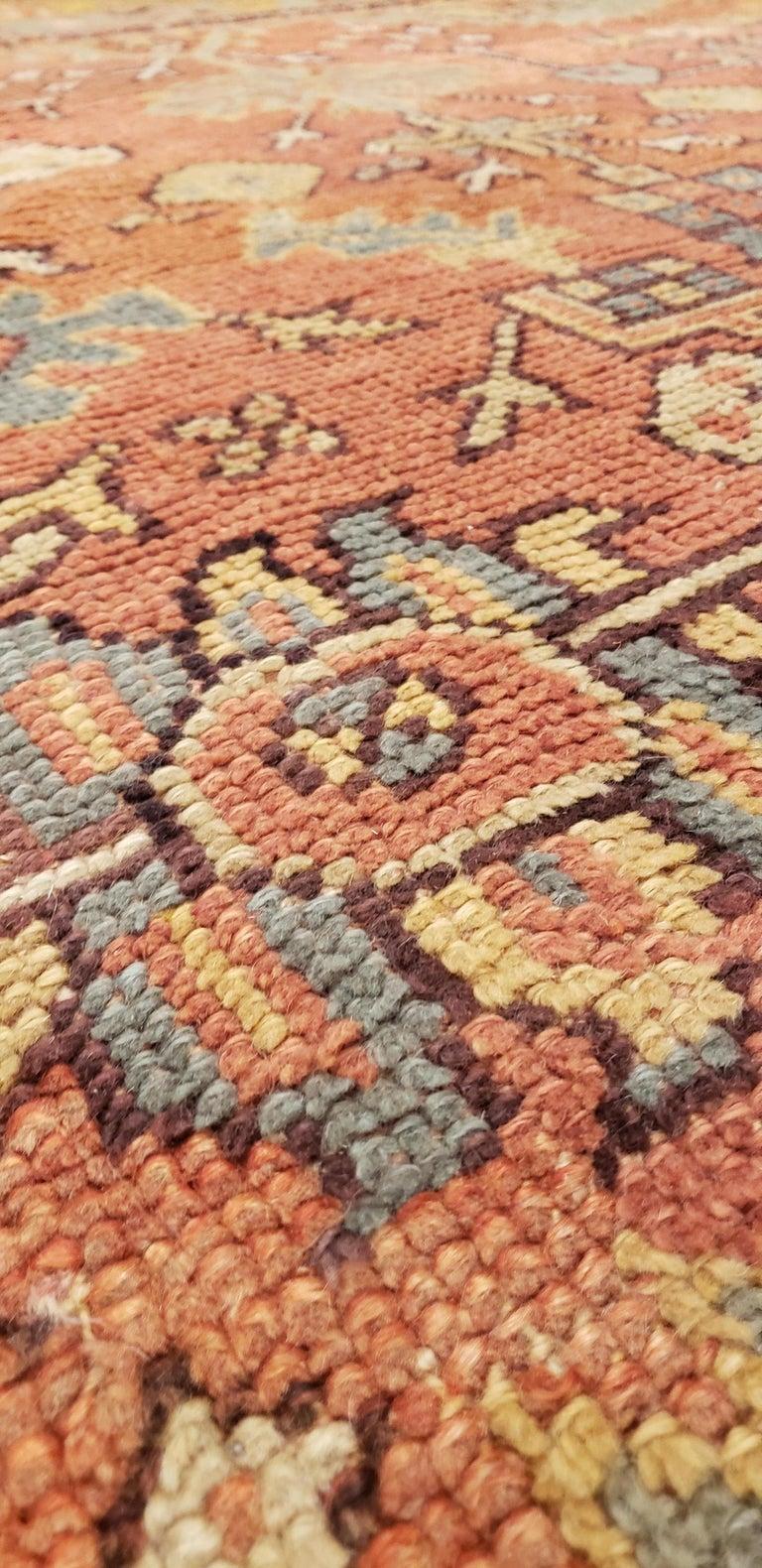 Hand-Knotted Oushak Carpet, Oriental Rug, Handmade Rug Saffron, Light Blue and Coral For Sale
