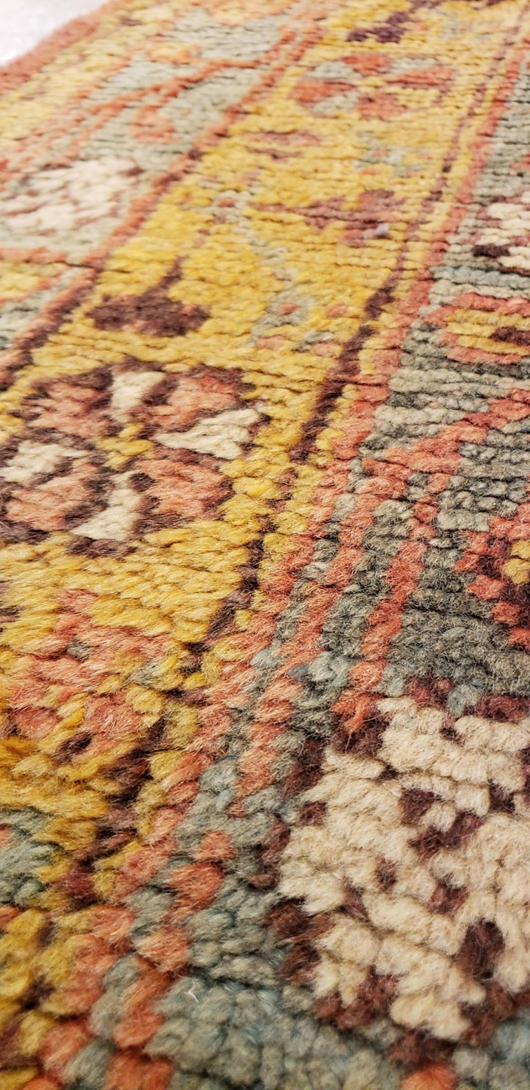 Oushak Carpet, Oriental Rug, Handmade Rug Saffron, Light Blue and Coral In Good Condition For Sale In New York, NY