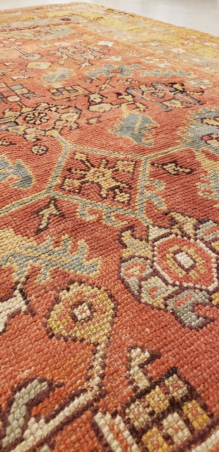 19th Century Oushak Carpet, Oriental Rug, Handmade Rug Saffron, Light Blue and Coral For Sale