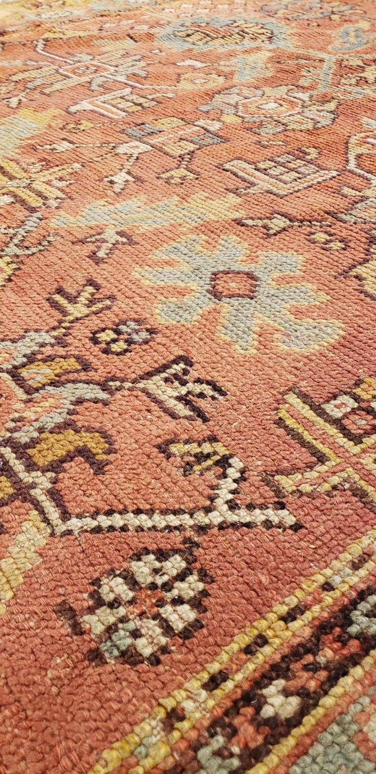 Wool Oushak Carpet, Oriental Rug, Handmade Rug Saffron, Light Blue and Coral For Sale