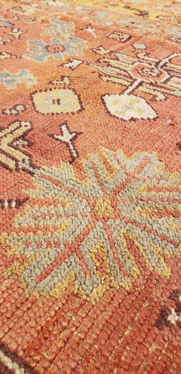 Oushak Carpet, Oriental Rug, Handmade Rug Saffron, Light Blue and Coral For Sale 1