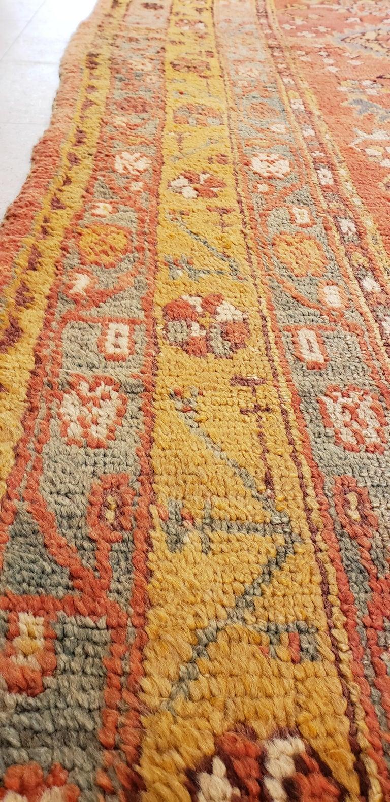 Oushak Carpet, Oriental Rug, Handmade Rug Saffron, Light Blue and Coral For Sale 2