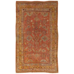 Oushak Carpet, Oriental Rug, Handmade Rug Saffron, Light Blue and Coral