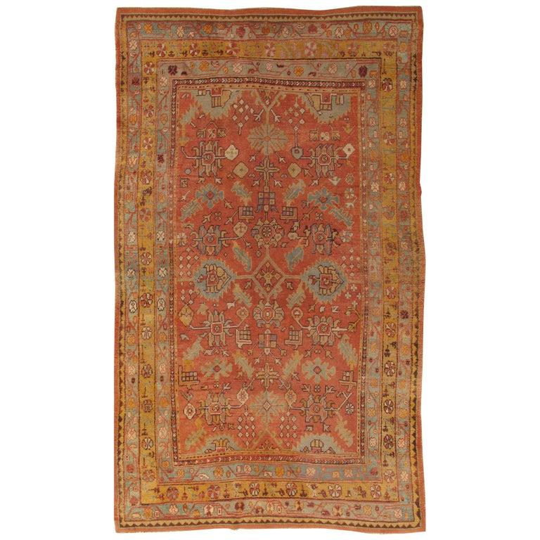 Oushak Carpet, Oriental Rug, Handmade Rug Saffron, Light Blue and Coral For Sale