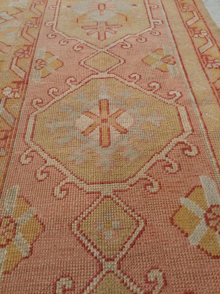 Oushak Carpet, Turkish Rugs, Handmade Oriental Rugs, Gold, Green, Pink, Ivory For Sale 4