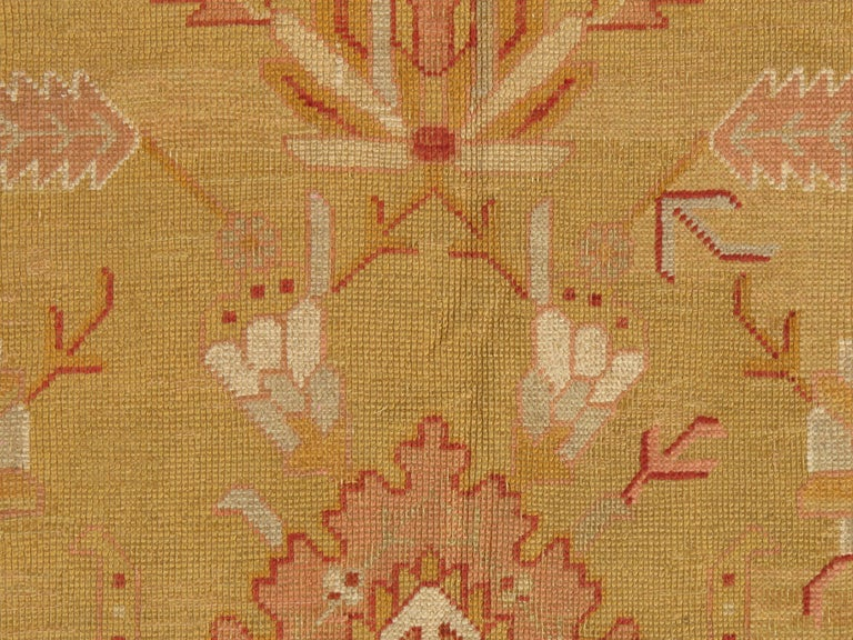 Hand-Knotted Oushak Carpet, Turkish Rugs, Handmade Oriental Rugs, Gold, Green, Pink, Ivory For Sale
