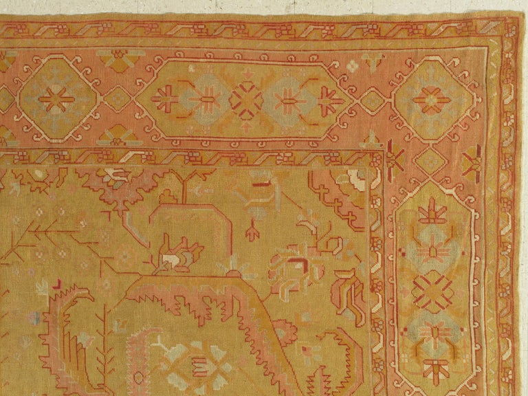 Oushak Carpet, Turkish Rugs, Handmade Oriental Rugs, Gold, Green, Pink, Ivory In Good Condition For Sale In New York, NY