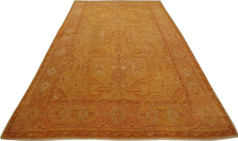 19th Century Oushak Carpet, Turkish Rugs, Handmade Oriental Rugs, Gold, Green, Pink, Ivory For Sale