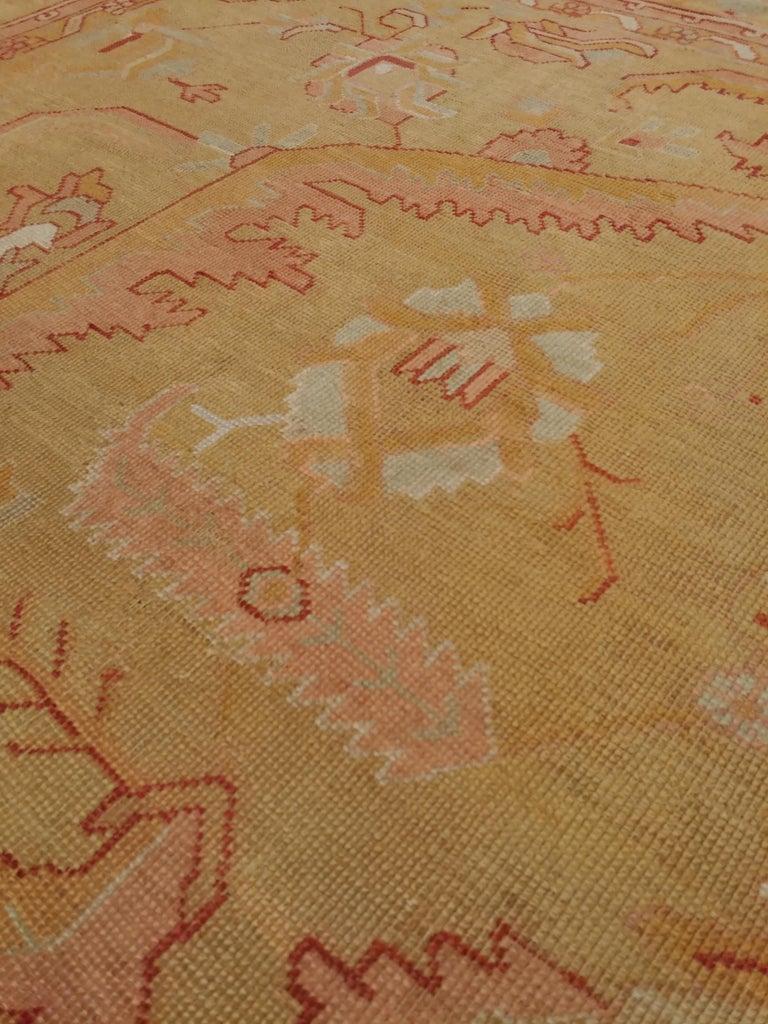 Wool Oushak Carpet, Turkish Rugs, Handmade Oriental Rugs, Gold, Green, Pink, Ivory For Sale