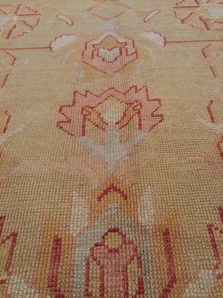 Oushak Carpet, Turkish Rugs, Handmade Oriental Rugs, Gold, Green, Pink, Ivory For Sale 1