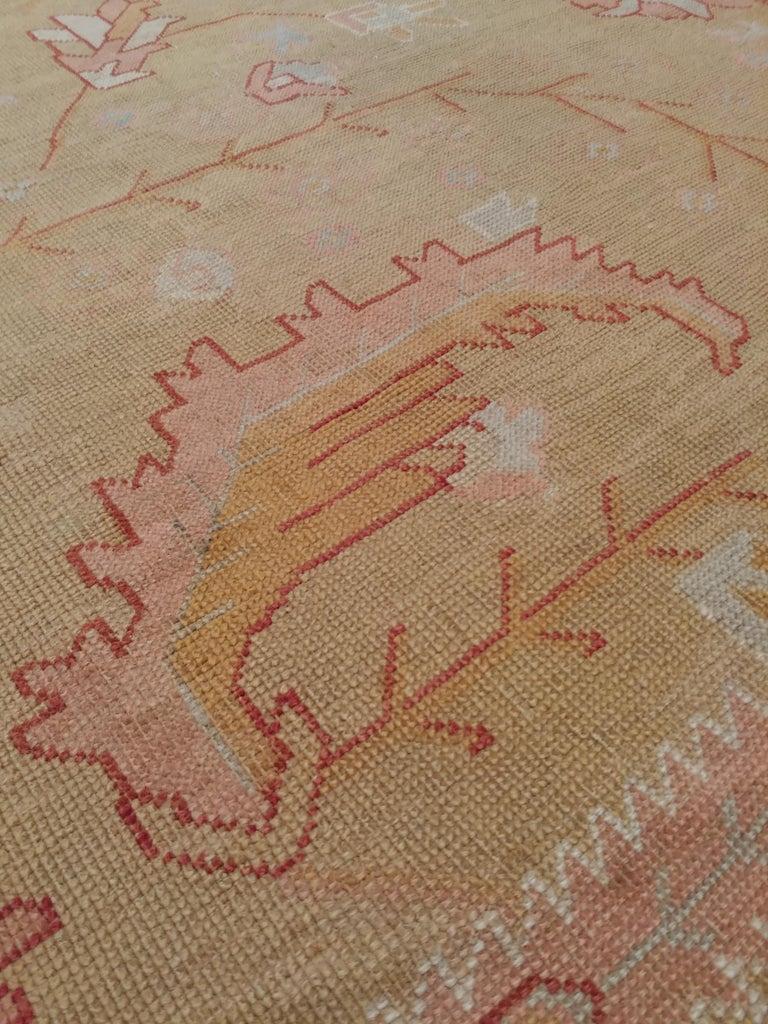 Oushak Carpet, Turkish Rugs, Handmade Oriental Rugs, Gold, Green, Pink, Ivory For Sale 2