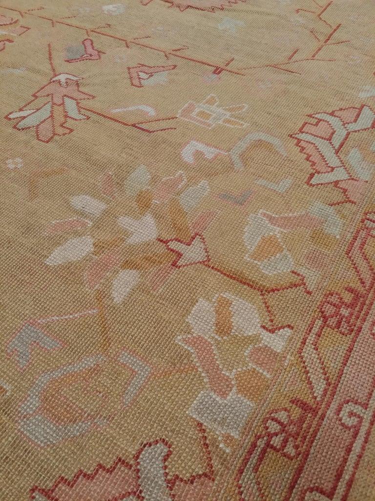Oushak Carpet, Turkish Rugs, Handmade Oriental Rugs, Gold, Green, Pink, Ivory For Sale 3