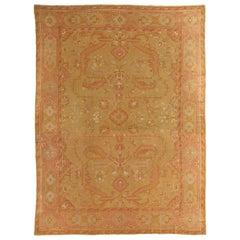 Oushak Carpet, Turkish Rugs, Handmade Oriental Rugs, Gold, Green, Pink, Ivory